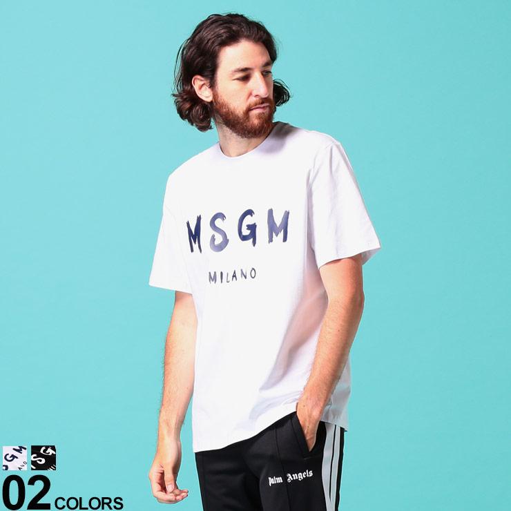 MSGM (エムエスジーエム) 綿100% ロゴプリント クルーネック 半袖 Tシャツブランド メンズ 男性 トップス Tシャツ 半袖 シャツ プリント 春 夏 コットン シンプル MS2840MM97