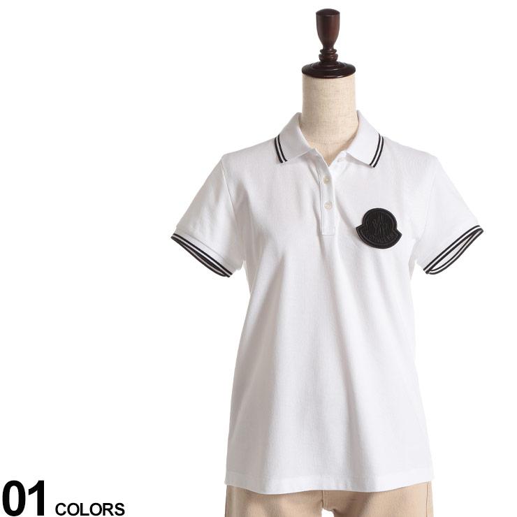トップス 半袖 ポロシャツ ライン 春 夏 MONCLER コットン ビッグマーク レディース ポロ 綿100% (モンクレール) 半袖 MCL8A70400V8003 シャツ WHITEブランド ポロシャツ シンプル