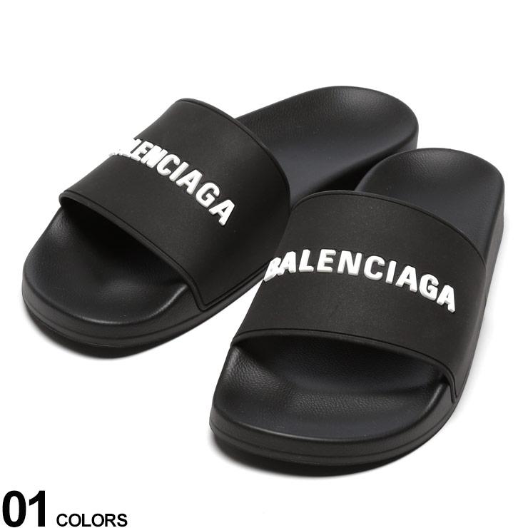 P5倍 BALENCIAGA (バレンシアガ) 3Dロゴ プール スライド サンダル BLACKブランド メンズ 男性 シューズ 靴 サンダル シャワーサンダル 夏 レジャー スライド スポーツサンダル BC565826W1S80