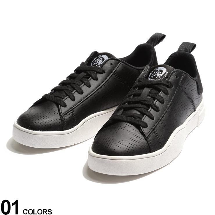 DIESEL ディーゼル ブランド メンズ [再販ご予約限定送料無料] キャンペーンもお見逃しなく 男性 シューズ 靴 スニーカー ローカット レザー ストリート 黒 パンチング ロゴ レザースニーカー DSY02045P3414 スニーカーブランド