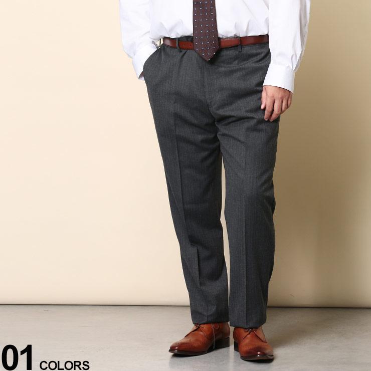 ボトムス スラックス ロングパンツ 大きいサイズ メンズ ビジネス パンツ タックなし フォーマル 新生活 紳士 爆安プライス ハイブリッドビズ HYBRIDBIZ ヘリンボン 920460420A641 ノータック