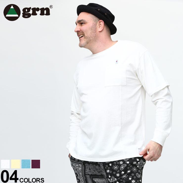 期間限定特別価格 Tシャツ 長袖 ロンT ポケT 春物 大きいサイズ メンズ トップス シンプル USAコットン ポケット クルーネック grn ジーアールエヌ GU111011F1 超激得SALE 重ね着風 フェイクレイヤード コットン