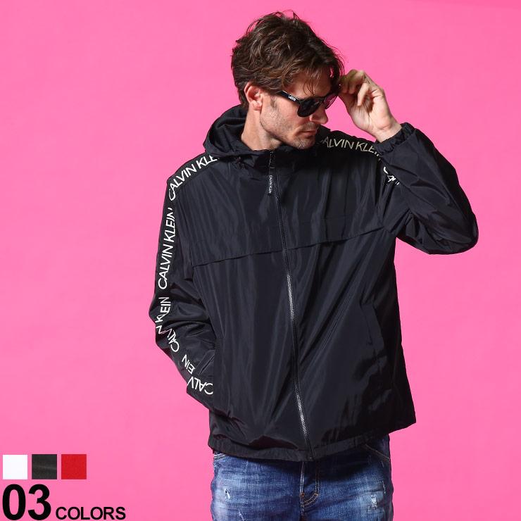 Calvin Klein カルバンクライン ブランド 流行 メンズ 未使用 男性 アウター ジャケット ブルゾン パーカー 裏メッシュ スポーツ CKCM130597 ストリート ナイロンジャケット フード ジャケットブランド アームテープロゴ フルジップ