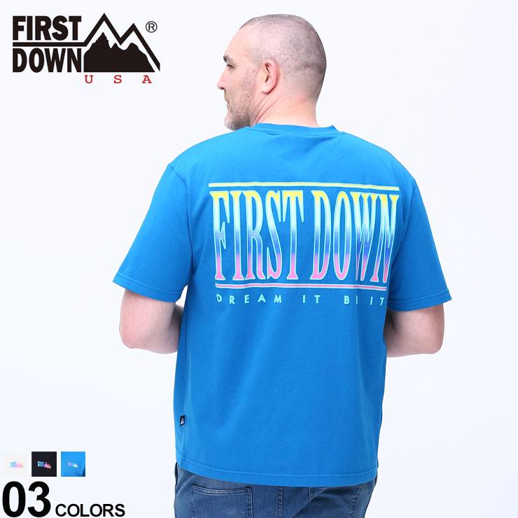 Tシャツ クルー 半袖 春 人気商品 夏 ロゴ 入手困難 大きいサイズ メンズ トップス プリント コットン USA ファーストダウンユーエスエー グラデ バックプリント クルーネック ストリート F901505Z DOWN FIRST