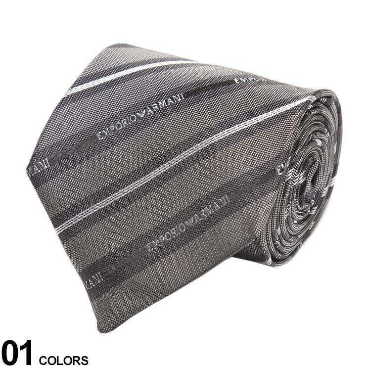 EMPORIO ARMANI エンポリオアルマーニ ブランド メンズ 男性 紳士 新色追加 ビジネス ネクタイ シルク プレゼント ギフト GRAYブランド 絹 EA1P60608334 フォーマル 品質保証 シルク100% 柄 ロゴストライプ