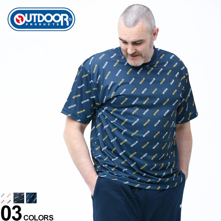 Tシャツ クルー 2020春夏新作 半袖 メッシュ 大きいサイズ メンズ 在庫処分 トップス 春 夏 プリント ロゴ総柄 スポーツ ドライ C513VE アウトドア アウトドアプロダクツ クルーネック PRODUCTS OUTDOOR