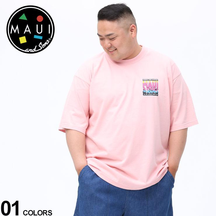 Tシャツ クルー 半袖 プリント 売れ筋 大きいサイズ メンズ トップス 選択 春 夏 コットン and クルーネック PINK TU10259022 マウイアンドサンズ バックプリント MAUI スポーツ Sons