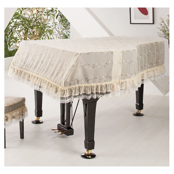 格安店 ピアノカバー 受注製作品 送料無料 グランドピアノカバー 小花柄 市場 レースフリル 名古屋のピアノ専門店 G-UL ベージュ系170cm~180cm アルプス