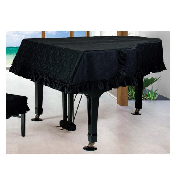 ピアノカバー 受注製作品 送料無料 グランドピアノカバー ブラック地模様 音符柄 アルプス 名古屋のピアノ専門店 ジャガード織 驚きの値段で G-MK 200~220cm未満 テレビで話題