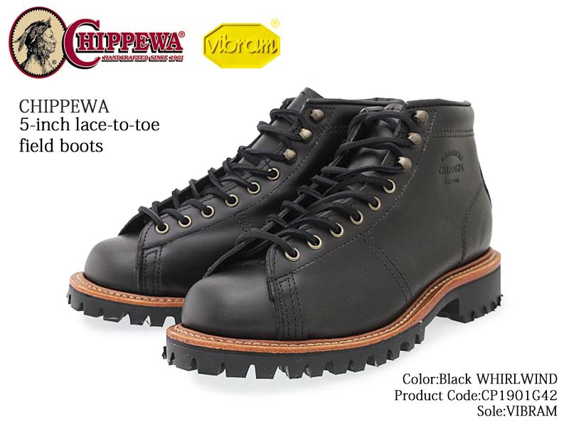【CHIPPEWA】チペワ BLACK WHIRLWIND 1901G42 ブラック 5-inch lace-to-toe field boots メンズ 5インチ レーストゥ フィールド ブーツ men's/本革/VIBRAM/ヴィブラムソール/正規品/通販【送料無料※沖縄・北海道を除く】【あす楽対応】