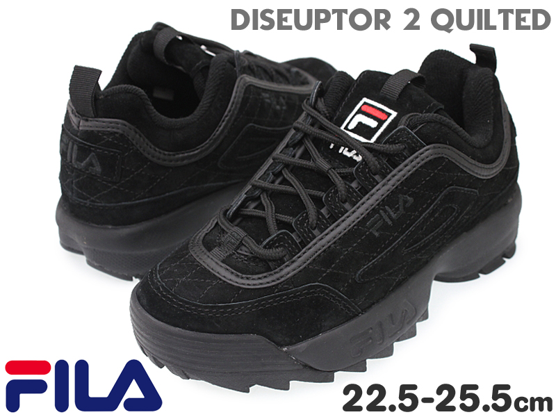 フィラ【FILA】 DISRUPTOR2 QUIKTED ディスラプター2 キルテッド F0436 レディーススニーカー BBK(0001)ウィメンズ/トレンド/シャークソール/厚底/ダッドシューズ/ダッドスニーカー/レースアップ/紐靴/BLACK/ブラック/【10%OFF】【あす楽対応】