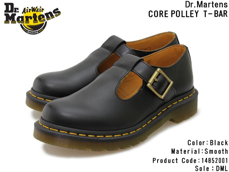 【Dr.Martens】ドクターマーチン POLLEY T-BAR SHOE ポリー ティーバー シューズ 14852001 BLACK ブラック14852001 スムースレザー レディース/メンズ/Tストラップ/ベルト/Airwair/革靴/本革/エアクッション/人気/通販【10%OFF】【送料無料】【あす楽】