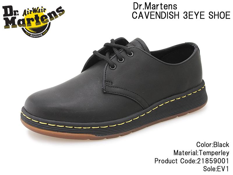 【Dr.Martens】ドクターマーチン CAVENDISH 3 EYE LACE SHOE 21859001 BLACK ブラック レザー 本革 レディース/メンズ/ユニセックス/革靴/3ホール/レースアップ/イエロー/DM's LITE/軽量/紐靴/Airwair/人気/通販/セール【10%OFF】【送料無料※沖縄・北海道を除く】