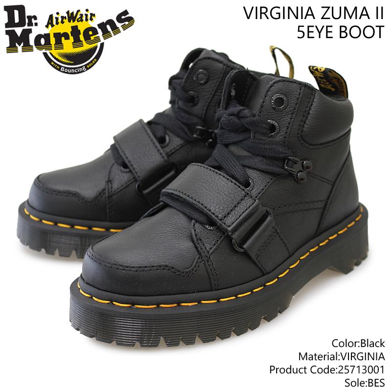 【Dr.Martens】ドクターマーチン ZUMA II ズーマ2 25713001 BLACK ブラック レザー 本革 レディース/革靴/Core Bex/Virginiaレザー/Airwair/5ホール/レースアップ/ストラップベルト/厚底/黒【10%OFF】【送料無料】【あす楽】