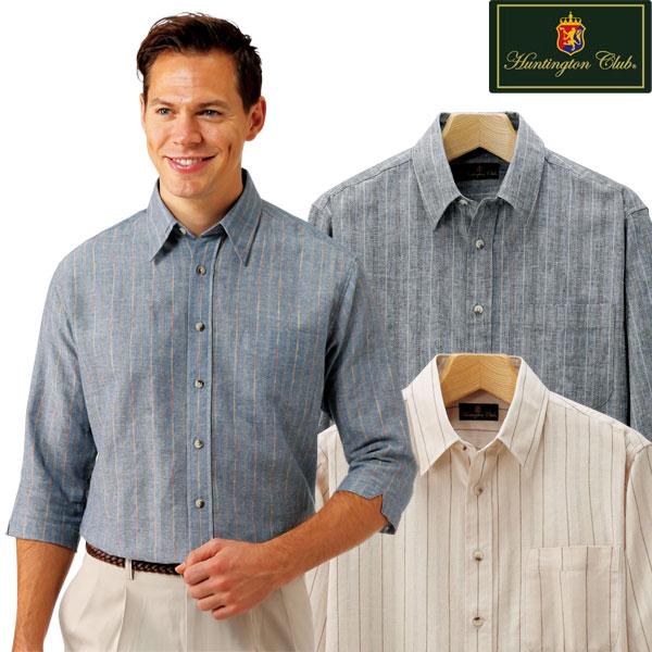 麻混ストライプ7分袖シャツ 3色組 ハンティントン・クラブ メンズ 7分袖 ストライプ 綿麻生地 春夏 50代 60代 957549