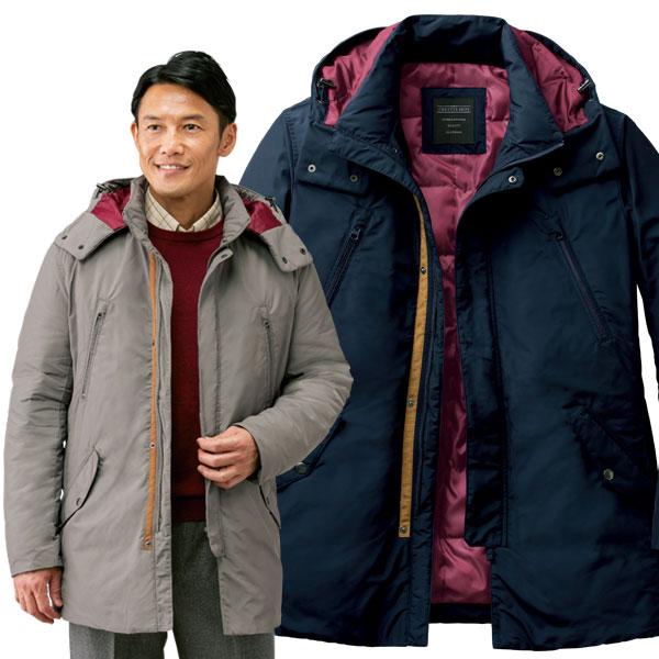 裏キルトハーフコート 暖か シルエットすっきり ファスナー付胸ポケット 着脱可能フード 秋冬 40代 50代 60代 957606