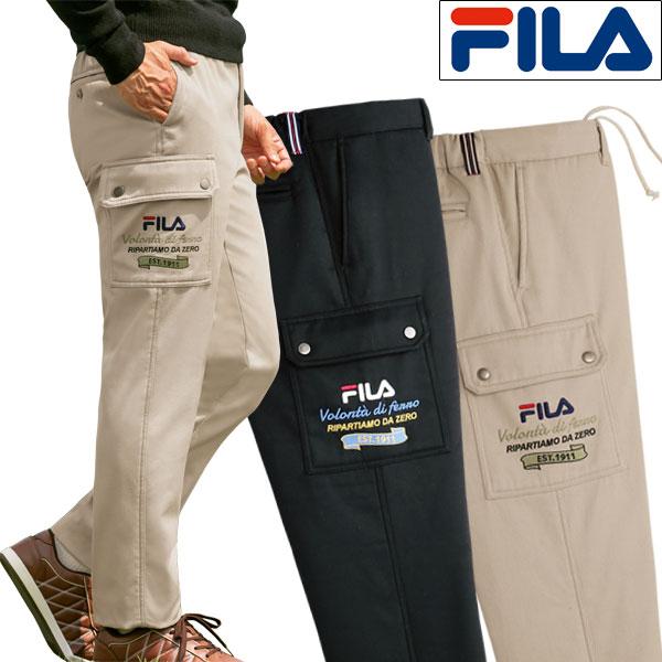 裏フリースカーゴパンツ 暖かく楽なはき心地 ズボン 同サイズ2色組 選べる股下 FILA フィラ 秋冬 40代 50代 60代 957619