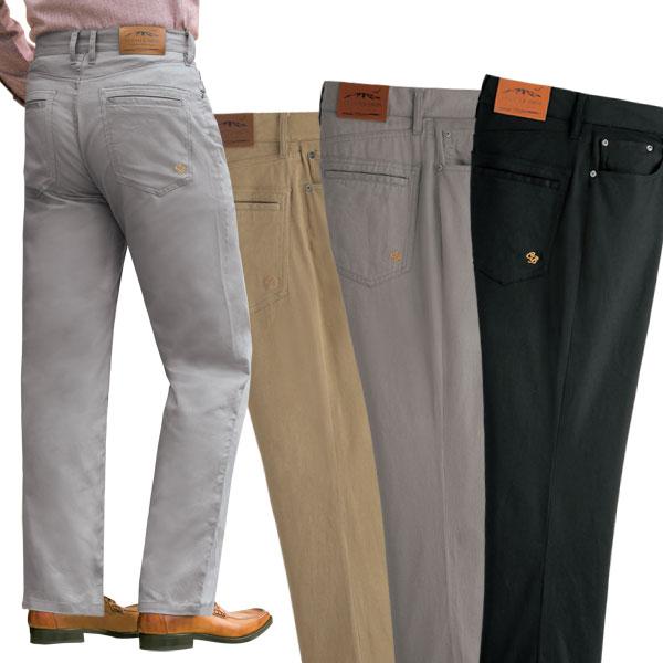 ストレッチ素材 コットンスラックス 快適定番ズボン 同サイズ3色組 選べる股下 通年 40代 50代 60代 957629