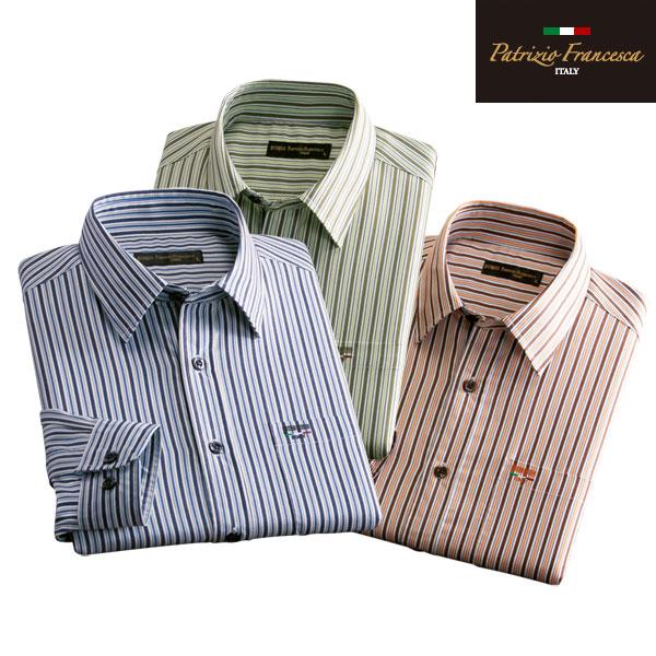 着心地楽々シャツ 同サイズ3色組 ストライプ柄 パトリチオ フランチェスカ お手入れ簡単 通年 40代 50代 60代 957634