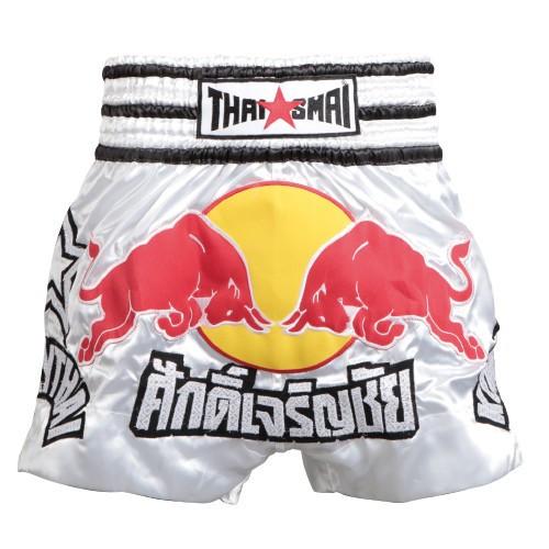 WHITE /'SCORPION/' KICKBOXING THAI FIGHTER SHORTS