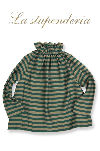 La stupenderia [ラ ストゥペンデリア] ブラウス グリーン ボーダー 10歳(140cm)~12歳(152cm)子ども 長袖 レーヨン ブラウス チュニック ブラウス イタリア製