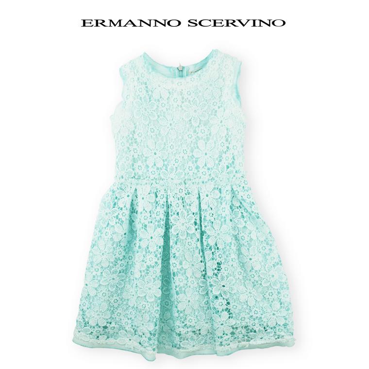 ERMANNO SCERVINO junior [エルマンノ シェルビーノ ジュニア] カットワークレース ワンンピース エメラルドグリーン 4歳【4A】6歳【6A】8歳【8A】