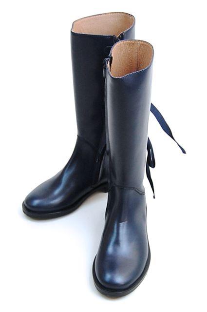 アウトレッ価格gallucci [ガルッチ] バックリボン ロングブーツ ブーツ ロング ブーツ ネイビー リボン イタリア製