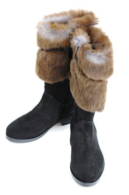 アウトレット価格! gallucci [ガルッチ] ヌバック ラビットファー ロングブーツ ブーツ ロング ブーツ ブラック イタリア製