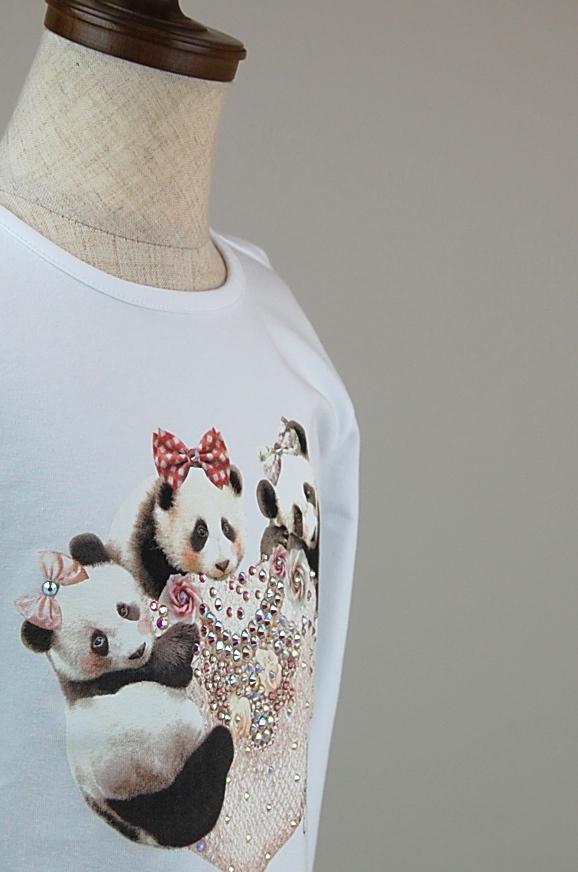 T-shirt T-shops【Tシャツ Tショップ】スワロフスキー Tシャツ2A~14A(身長約90cm~150cm) 子供服 キッズ インポート スワロフスキー Tシャツ 男の子 女の子 秋冬 長袖Tシャツ ロンT Made in Italy イタリア製 WHITE ホワイト