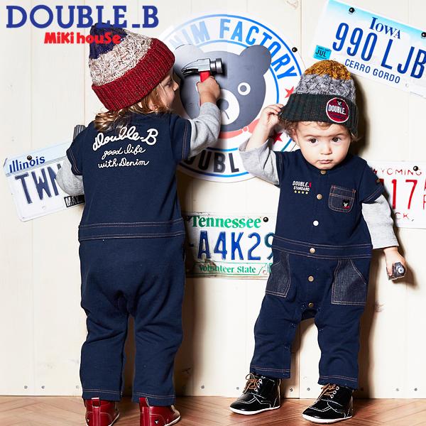 【メール便OK】【DOUBLE B ダブルビー】デニム風☆カバーオール (60cm・70cm・80cm)