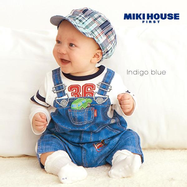 【メール便送料無料】【MIKIHOUSE FIRST ミキハウスファースト】オーバーオールプリントのカバーオール(70cm・80cm)【出産祝い・ギフトに】
