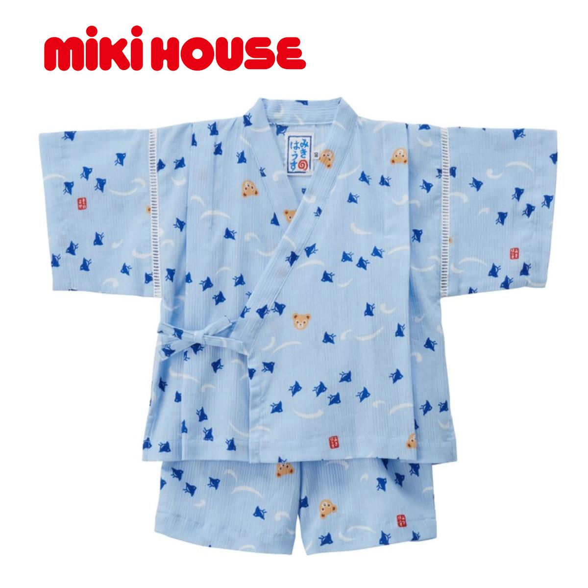 【メール便送料無料】【MIKIHOUSE ミキハウス】プッチー 千鳥柄甚平スーツ(100cm・110cm)【浴衣】