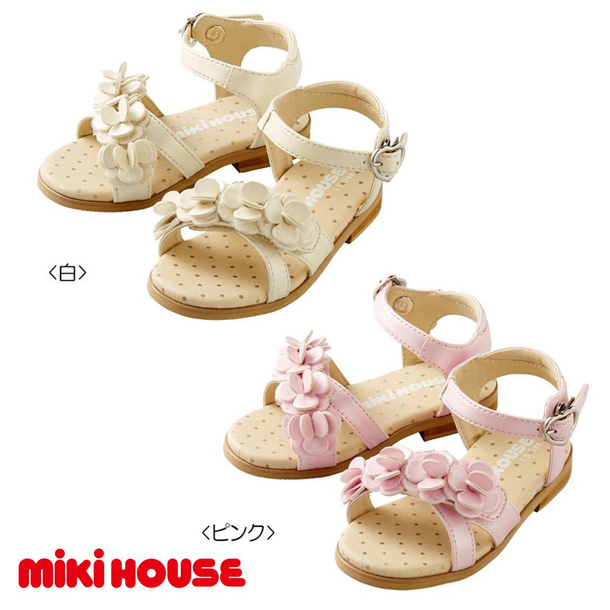 【セール30%OFF】【メール便不可】【MIKIHOUSE ミキハウス】ハート型のバックルの小花サンダル(15cm-21cm)