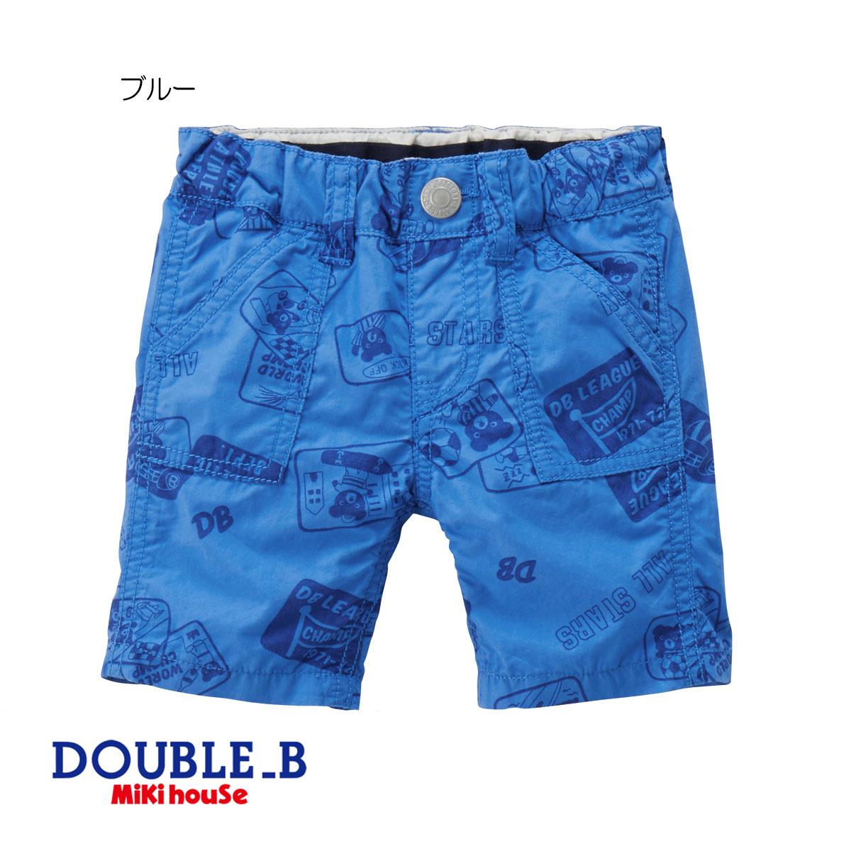 【セール30%OFF】【メール便OK】【DOUBLE B ダブルビー】アメコミ風プリント6分丈パンツ (80cm・90cm)【ミキハウス/ハーフパンツ】