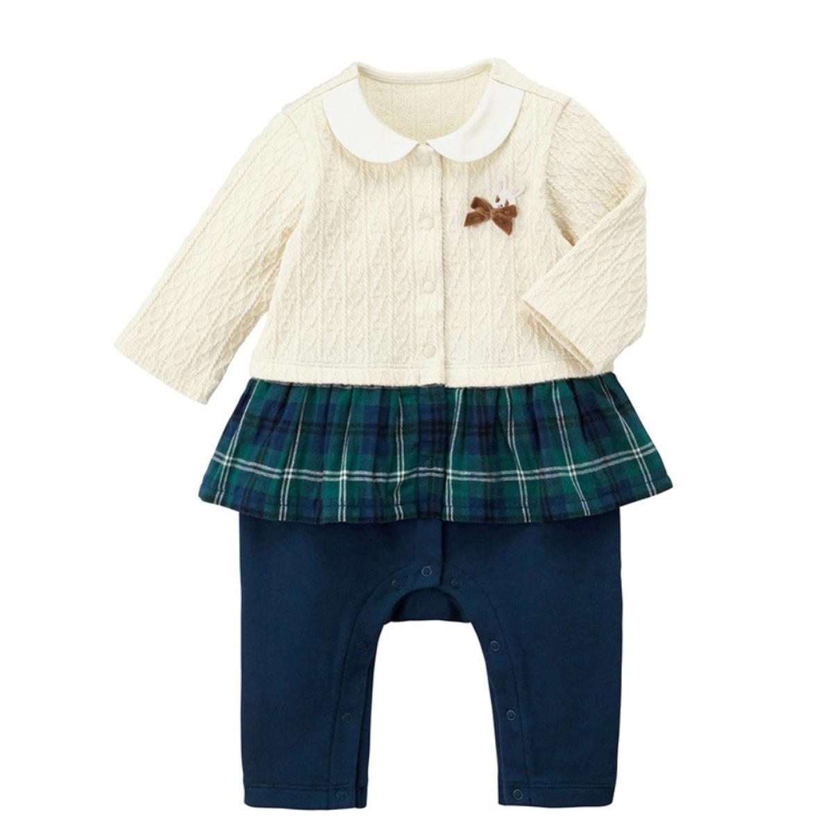 【MIKIHOUSE ミキハウス】重ね着風カバーオール(70cm・80cm)【出産祝い・ギフトに】
