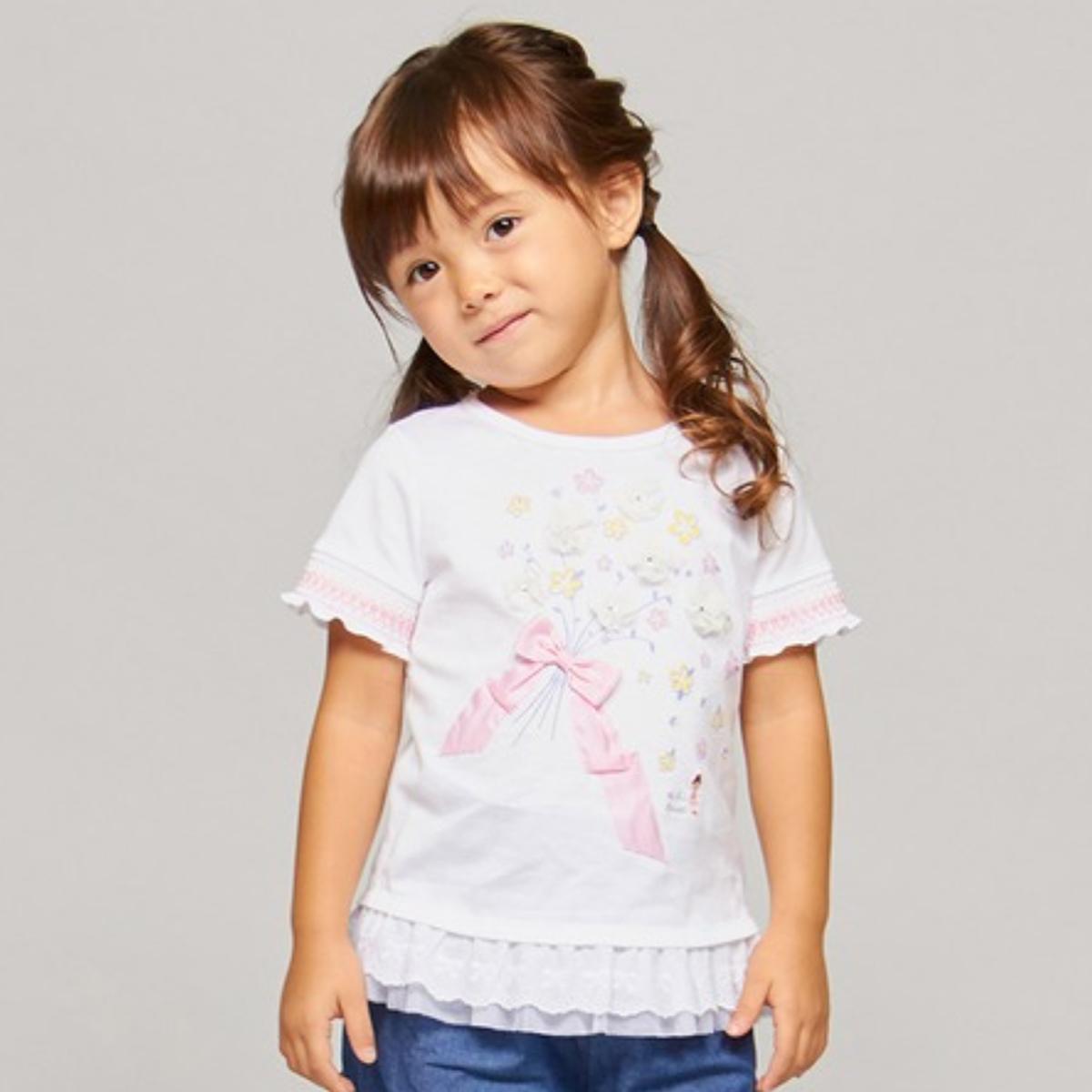 【MIKIHOUSE ミキハウス】スワロフスキー ラインストーン半袖Tシャツ(110cm-140cm)