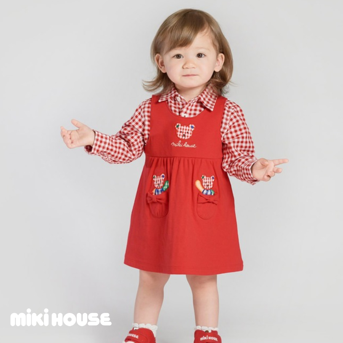 お取り寄せ品 オリジナル 送料無料 MIKIHOUSE 全品送料無料 ミキハウス ジャンパースカート〈S-M 70cm-90cm