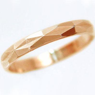 結婚指輪 マリッジリング ピンクゴールドk18 ダイヤカット加工 ペアリング K18pg指輪
