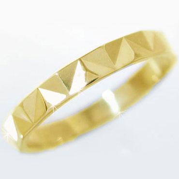 ゴールドk18 ダイヤカット加工 ペアリング 結婚指輪 ピンキーリング K18yg 指輪