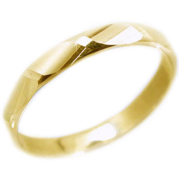 ゴールドk18 ダイヤカット加工 ペアリング 結婚指輪 ピンキーリングにおすすめ K18yg 指輪