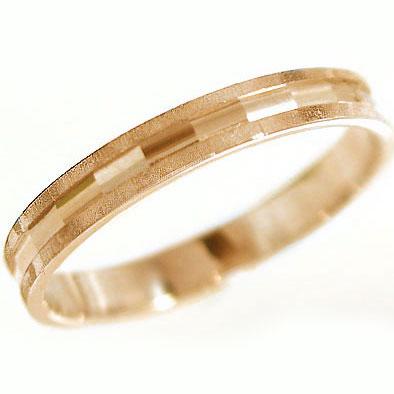 ピンクゴールドk18 ダイヤカット加工 ペアリング 結婚指輪 ピンキーリングにおすすめ K18pg 指輪【送料無料】