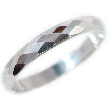 ホワイトゴールドk18 ダイヤカット加工 ペアリング 結婚指輪 ピンキーリングにおすすめ K18wg 指輪
