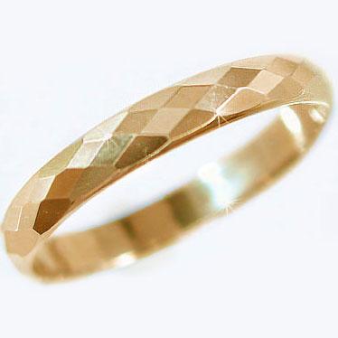 結婚指輪 マリッジリング ピンクゴールドk18 ダイヤカット加工 ペアリング K18pg 指輪【送料無料】