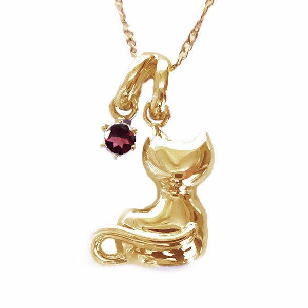 ネコ ペンダント ネックレス ピンクゴールドk10 1月誕生石 ガーネット K10pg ねこ 猫 送料無料80mNnw