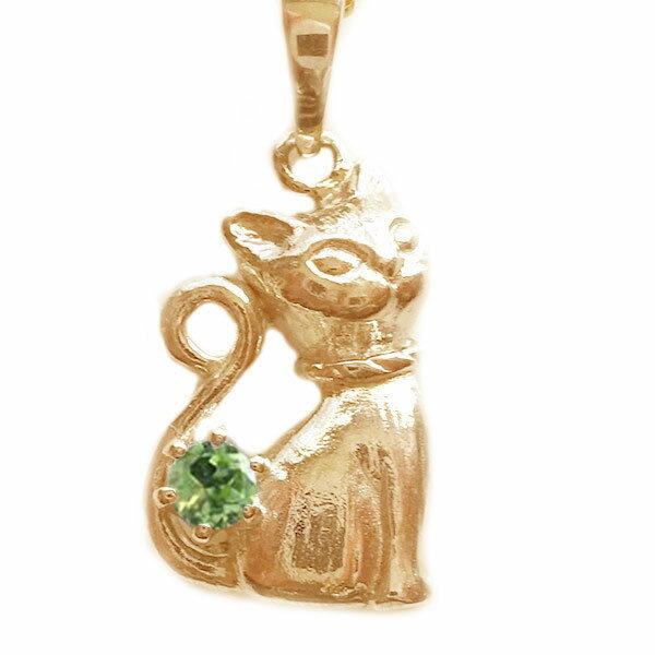 ネコ ペンダント ネックレス ピンクゴールドk10 8月誕生石 ペリドット K10pg ねこ 猫【送料無料】