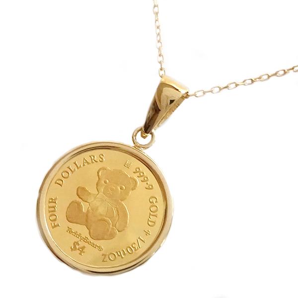 コイン ペンダントネックレス 2020年限定 テディベア コイン 純金 エリザベス女王 イギリス 金貨 イエローゴールドk18枠 1/30オンス リバーシブル ケース付 レディース【送料無料】