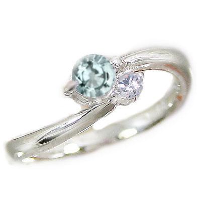 アクアマリンリング:ピンキーリング:ダイヤモンド:プラチナ900:Pt900指輪アクアマリン:3月誕生石【送料無料】