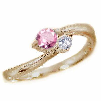 ピンクサファイヤ:ピンキーリング:ピンクゴールドK18:ピンクサファイヤ/ダイヤリング:k18pg 指輪:9月誕生石【送料無料】