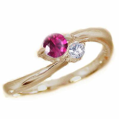 ルビーリング:ピンキーリング:ダイヤモンド:ピンクゴールドk18/天然ルビー:7月誕生石:K18WG 指輪【送料無料】