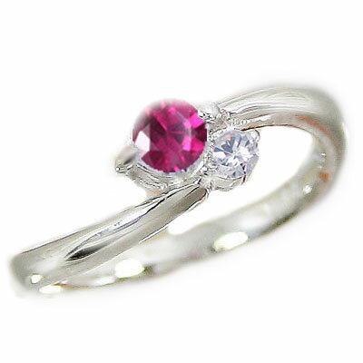 ルビーリング:ピンキーリング:ダイヤモンド:ホワイトゴールドk18/天然ルビー:7月誕生石:K18WG 指輪【送料無料】
